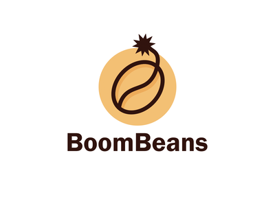 Boom Beans combination logo combination mark business coffee logo coffeeshop coffee bean bean fun logo logodesign logodesigns brandidentity illustration logo logos vector creative branding logodesigner designer art