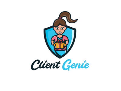 Client Genie combination logo playful logo fun design feminine logo business client genie logo logodesign logodesigns brandidentity illustration logos logo vector creative branding logodesigner designer art