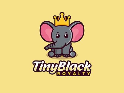 Tiny Black Royalty royalty design combination mark combination logo elephant design animals design cute animal mascot logo fun design playful design logodesigns logo illustration design logos vector creative branding logodesigner designer art