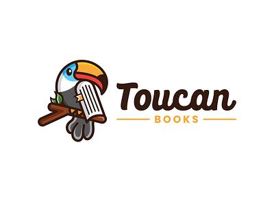 Toucan Books animals design mascot logo cute animal fun design playful design books logo toucan logo combination mark combination logo illustration design logos vector creative logodesigner designer art logo branding graphic design