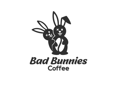 Bad Bunnies Coffee rabbit logo animals bean coffee coffee shop coffee logo negative space combination mark combination logo illustration design logos vector creative logodesigner designer branding logo graphic design art