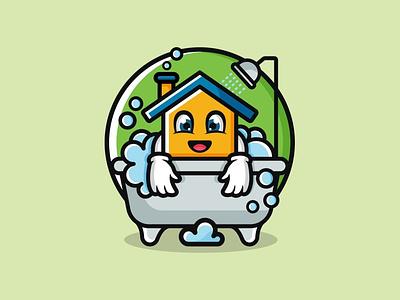 House cleaning home logo cute design playful logo fun logo mascot design combination logo combination mark cleaning design house logo illustration design logos vector creative logodesigner designer art branding logo graphic design
