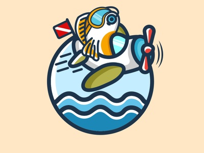 Flying Fish mascot animals cute design fun design combination mark combination logo diving fishing fish logo flying logo logo illustration design logos vector branding creative logodesigner designer art