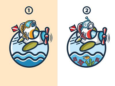 Flying fish icons plane logo fish illustration fun design playful design combination mark mascot logo diving fish logo flying logo graphic design logo illustration design logos vector branding creative logodesigner designer art