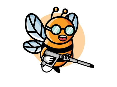 Bee Washing animal logo cute logo youthful combination mark combination logo playful logo fun design washing logo honey logo bee logo logo illustration design logos vector branding creative logodesigner designer art