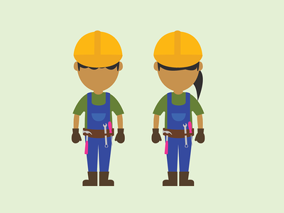 Construction character flat illustration contruct nonbinary female male people contruction