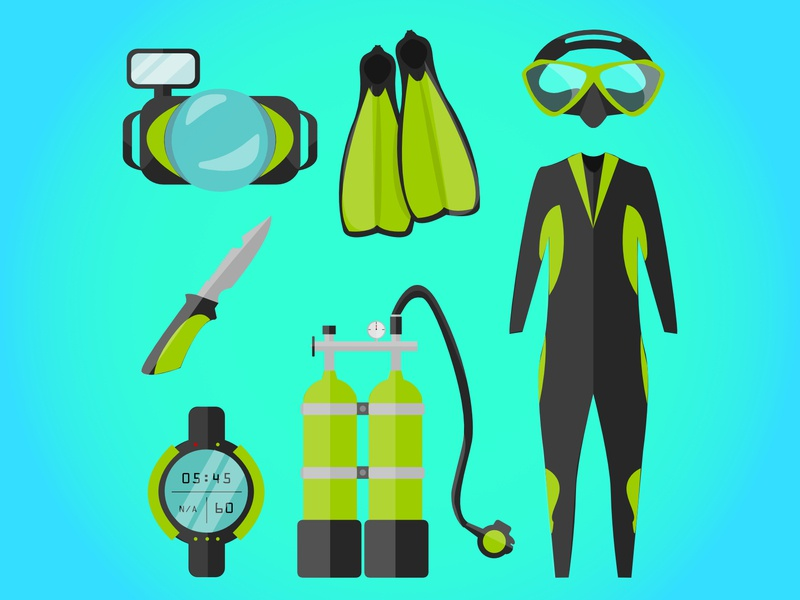 Scuba Kit kit scuba kit equipment scuba equipment scuba diver scuba icon challenge logo icon flat  design vector illustration