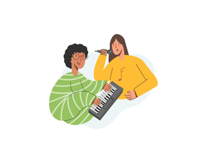 Couple Music Illustration