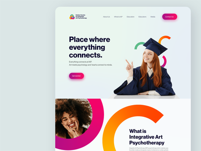 Society for Integrative Art Psychology - Website Redesign uxdesign uiux ui design ui school website design website design university college colorful cta clean design modern school psychology dailyuichallenge dailyui redesign landing page website website redesign