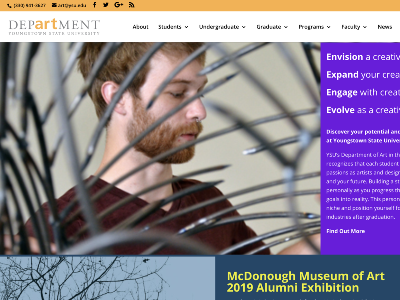 YSU Department of Art website wordpress web website ux youngstown ohio