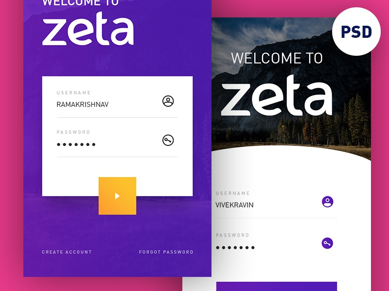 Freebie PSD: Login UI Concept download free ios app zeta concept ui login psd freebie