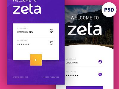 Freebie PSD: Login UI Concept download free ios app zeta concept ui login psd freebie