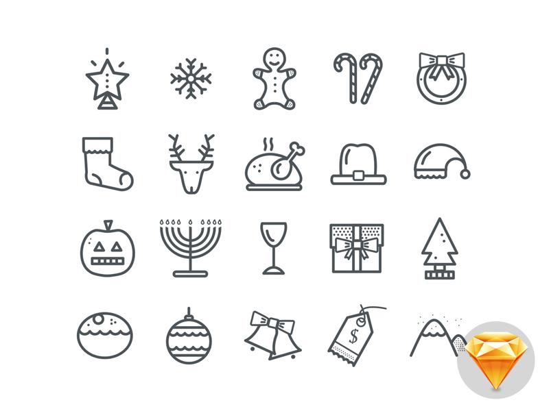 20 Christmas Icons (.sketch Freebie) free freebie sketch sketchapp christmas icon icons file tree line-icons line icons