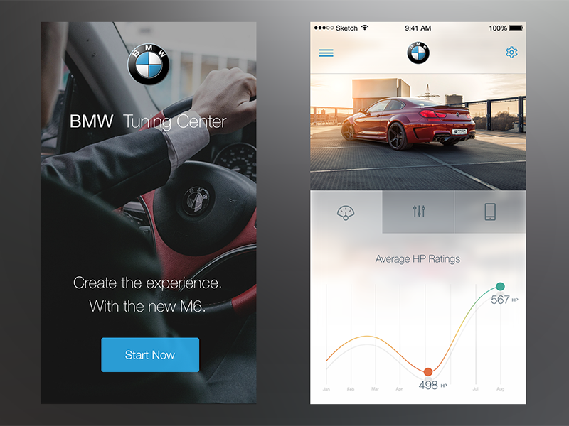 BMW Tuning Center (iOS) sketchapp sketch ui ux user interface user experience app ios iphone bmw ios 8 iphone 6