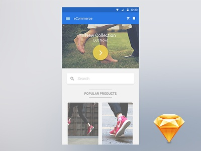 Material eCommerce App material android user interface user experience ui ux resource file freebie free sketchapp sketch
