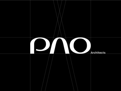 PAO Architects Logotype Wordmark Design WIP architecture logo identity branding drawing compass rounded soft minimal design architecture