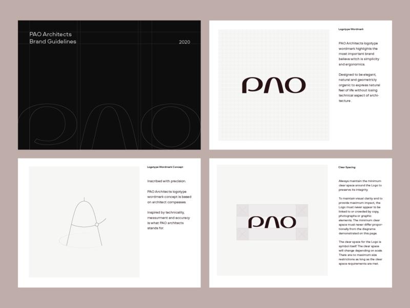 PAO Architects Brand Guidelines Preview symbol type mark typography agency modern minimal interior architect brand design identity logotype design usage wordmark logotype guidelines brandguide