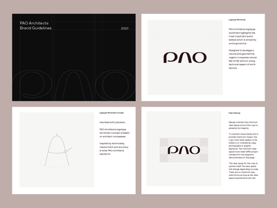 PAO Architects Brand Guidelines Preview symbol type mark typography agency modern minimal interior architect brand design identity logotype design usage wordmark logotype guidelines brandguide