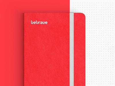 BeBrave Notebook / Bravehut Agency dot paper brave wordmark bravehut red print notebook agency