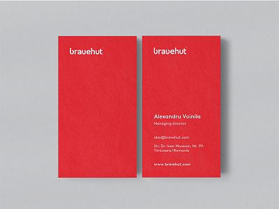Bravehut Business Cards / Idenitity / Branding print digital agency branding collateral minimal red cards business bravehut