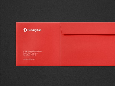 Prodigitas Envelope Print Identity red marketing digital agency logo branding print identity