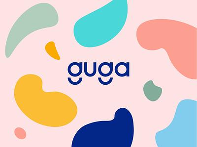 Guga - Artfully playful toys Logotype Wordmark Branding logotype logodesign illustration shapes identity wordmark logo fun child kids playful art colors toys guga