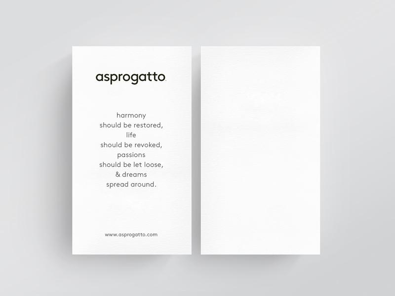 AsproGatto Business Cards logo typography modern clean identity print singlesided businesscards minimal
