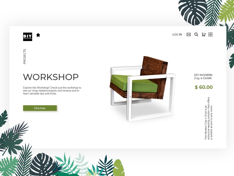 Diy Creators app flat website web illustration design vector ux follow me follow likeforlike like furniture armchair furnitures uiux ui