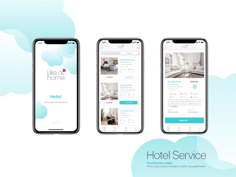 Likeathome Hotel Service app web bookingservice booking hotelservice hotel logo hotel app ioskit ios 10 ios uidesign uiux ui ux