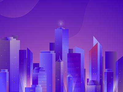 City Illustration skyscrapers skyscraper cityscape urban city vector purple minimal flat illustration design