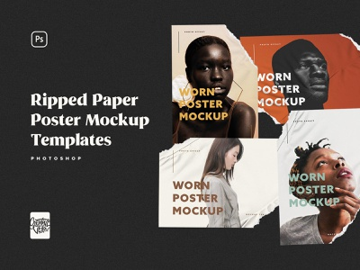 Ripped Paper Poster Mockup Set by Creative Veila wrinkle psd template torn veila