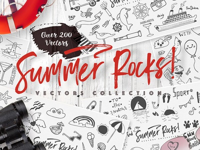 Summer rocks! collection decoration elements freebie free summer vector sketch seamless pattern drawing hand drawn