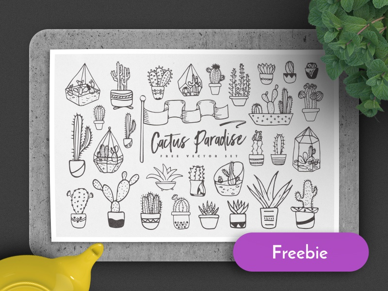 Cactus Paradise (Freebie) pattern seamless sketch doodle cactus illustration vector free freebie