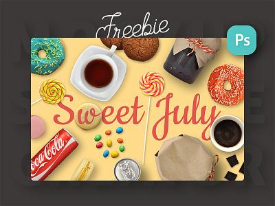 Freebie: Sweet July. Mini Scene Creator ratatouille generator creator scene mockup drink food veila freebie free