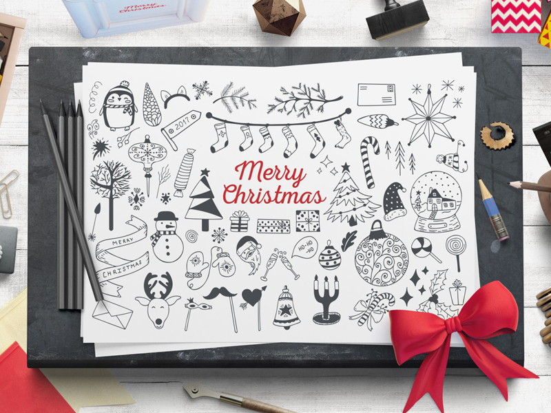 Cozy Christmas Free Vector Set winter brushes illustrator hand-drawn holiday new year illustration vector xmas christmas freebie free