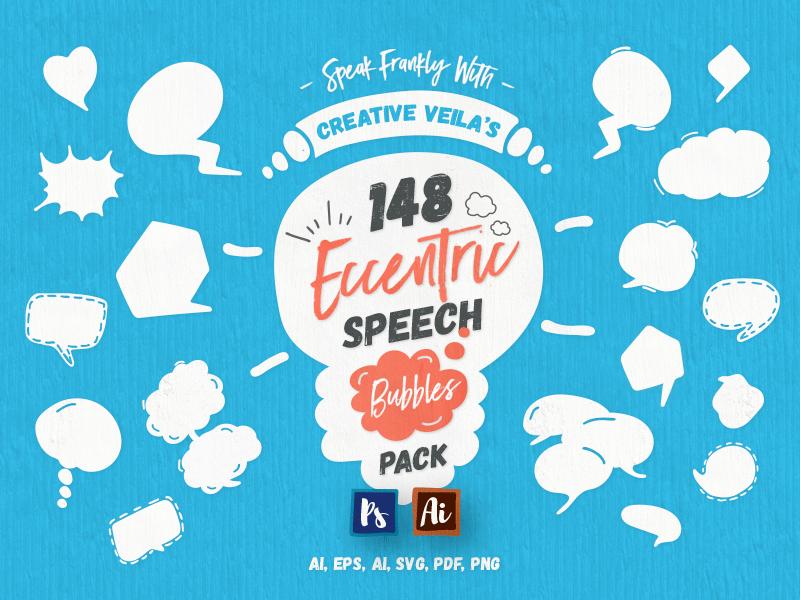Eccentric Speech Bubbles Vector Pack illustration graphic pack freebie free vector speech bubbles