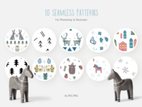 Scandi Holidays Seamless Patterns