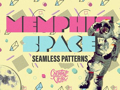 🚀 Free Memphis Style Patterns seamless pattern pattern memphis background tecture retro 3d flat illustrator photoshop free freebie