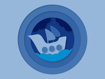 Create Realistic Paper Cutout Effect in Photoshop illustration design doodle kids ocean sea vawes ship how to tutorial video action effect texture cutout paper