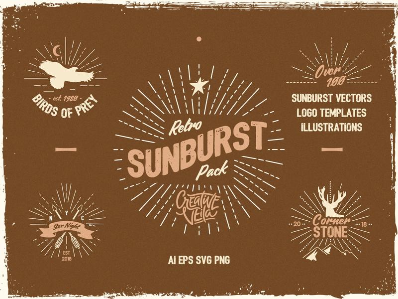 Vintage Glory: Sunburst Vector Set by CreativeVeila on Dribbble