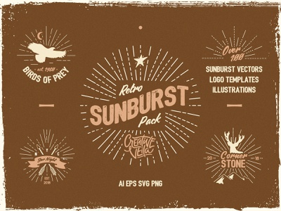 Vintage Glory: Sunburst Vector Set typography vintage veila vector timber set rustic retro made hand logo kit insignia illustration generator freebie free design creative badge