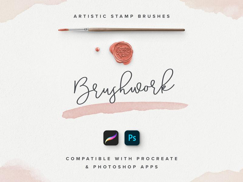 Brushwork: Artistic Procreate & Photoshop brushes veila made crafed hand setdesign creative acrylic effect watercolor artistic stamp set brush app procreate ipad apple