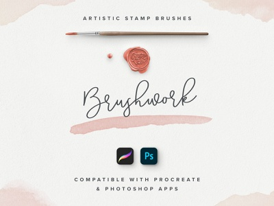 Brushwork: Artistic Procreate & Photoshop brushes veila made crafed hand setdesign creative acrylic effect watercolor artistic stamp set brush app procreate ipad apple