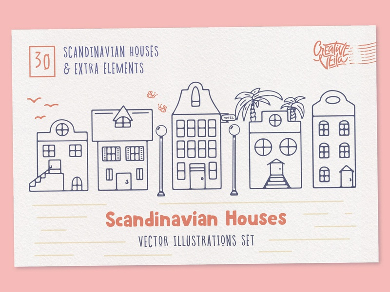 Scandinavian Houses: Free Vector Images scandinavian style scandinavian street city arhcitecture building house clip hand doodle art illustration images vector freebie downlaod free design veila creative
