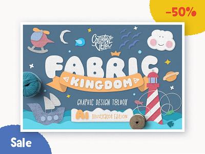 🧶 Fabric Kingdom Layer Styles 50% Off adobe illustrator handmade hand doodles kingdom action generator creator illustrations vector brushes layer styles graphic layer stiches fabric veila creative
