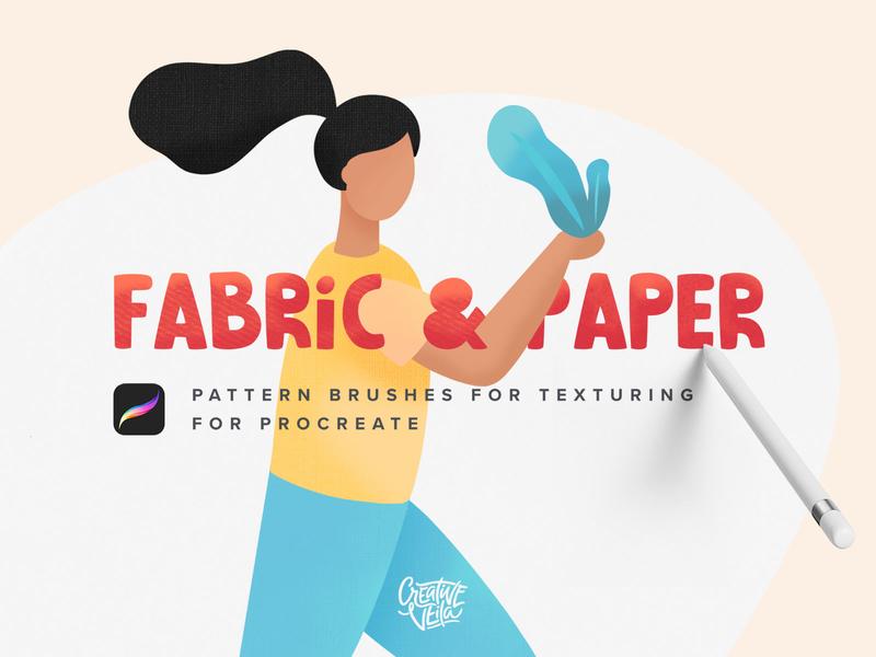 Fabric & Paper Procreate Brushes paper art veila creative paper fabric pencil apple ipad procreateapp illustrations shading texture procreate set brush pattern seamless