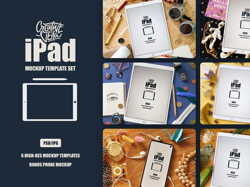 Free Ipad Mockup Template Set giveaway showcase objects scene adventure travel halloween cuisine kitchen veila creative mock-up psd mockup ipadpro apple ipad psd download free psd freebie free