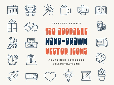 Adorable Hand Drawn Vectors Icons
