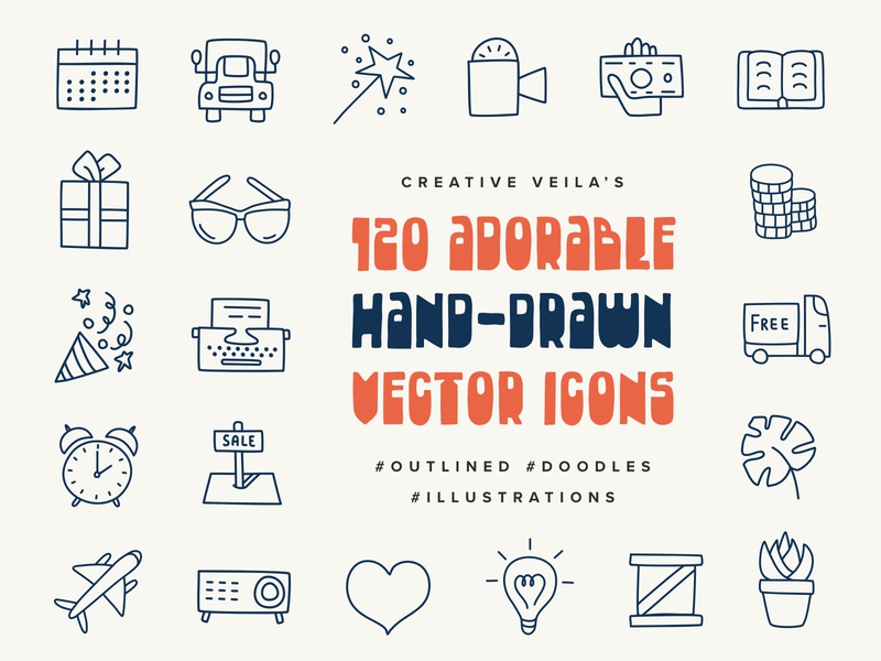 Adorable Hand Drawn Vectors Icons