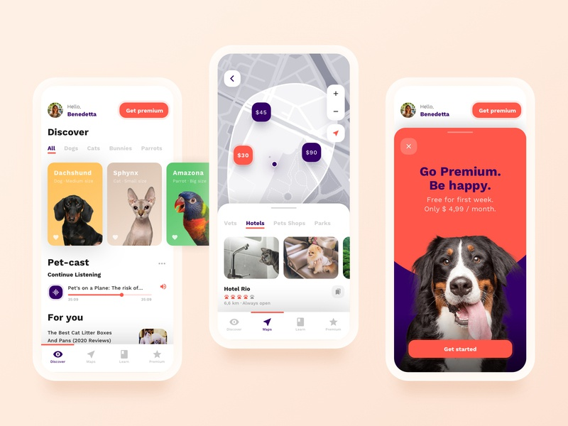 App for Pet Lovers designflows design ux uidesign ui dog cat pets